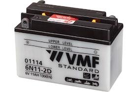 Een motor accu van het merk VMF die gebruikt kan worden om te starten en lichte stroomvoorziening