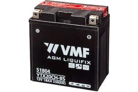 De VMF 51804 AGM motor accu heeft een capaciteit van 18Ah met een koud start van 250