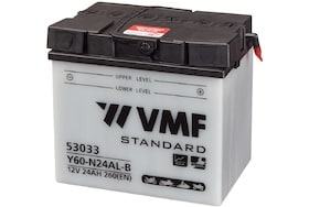 Een accu van het merk vmf met een ampere uur van 24 en een koudstart van 260