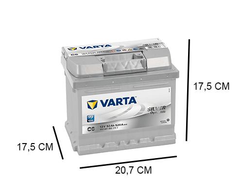 C6 Varta accu 52ah Silver Dynamic 552401052