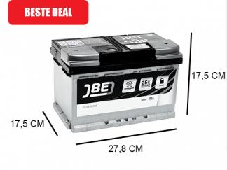 JBE Silverline 80Ah Start accu met een piekstroom van 800A
